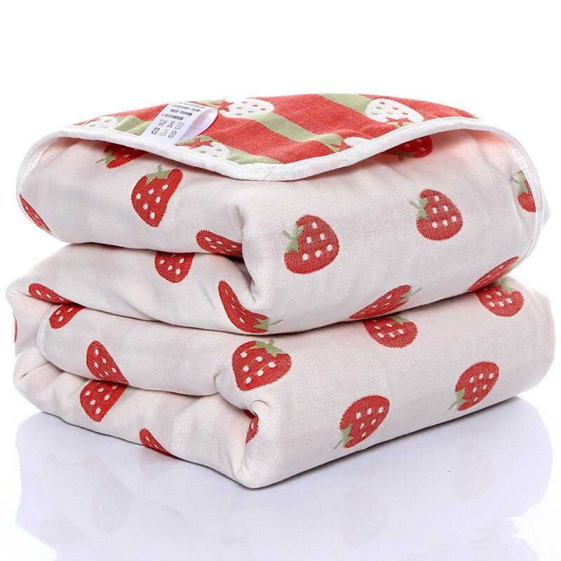 110*110cm Baby Blanket Newborn Wrap Blanket Thin Quilt Children's Bath Towel Six-layer Gauze Cotton Baby Crib Summer Blanket
