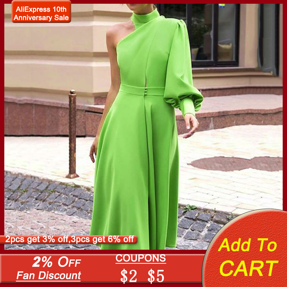 Sexy One Shoulder Turtleneck Midi Women Dress Vintage Prom Party Dress Green Plus Size 4XL Long Lantern Sleeve Evening Dress