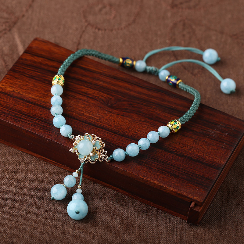 Cloisonne Hand-Knitted Anklet Female Ethnic Style Tassel Retro Foot Rope Color Jade Korean Simple Foot Chain Couple Gift