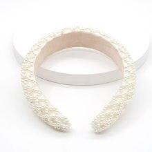 JOLORYM gioielli donna bianco perla alla moda barocco copricapo spugna corona fascia per capelli accessorio 3cm larghezza fascia FG-YL-019