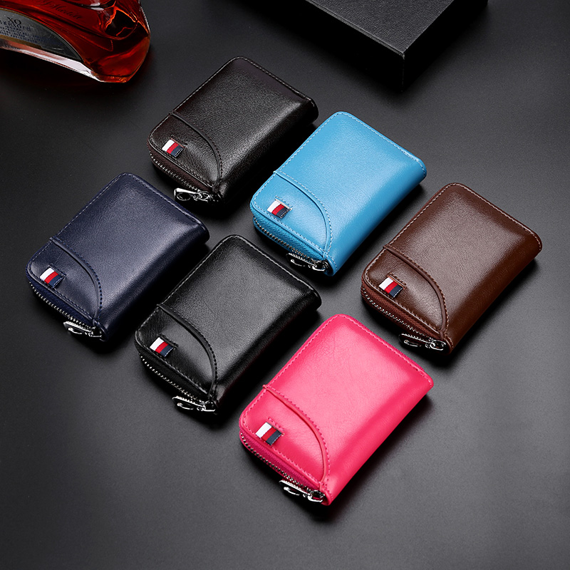 Card Case Wallet Unisex  Luxury Leather Credit Card Holder Short Coin  Cardholder Purse For Men And Women
