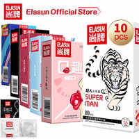 Elasun 10pcs 7 Types Plus Size Condoms Spike Ultra Thin Natural Rubber Cock Sleeve Intimate Goods Sex For Men Adult Sex Products