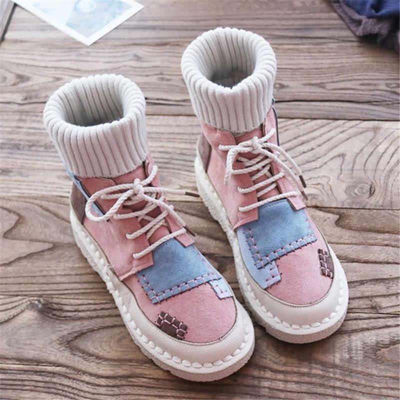 BEYARNEwomen bottes plates à fond, fond souple confortable ligne de laine Martin bottes, fait main institut femmes bootsE893