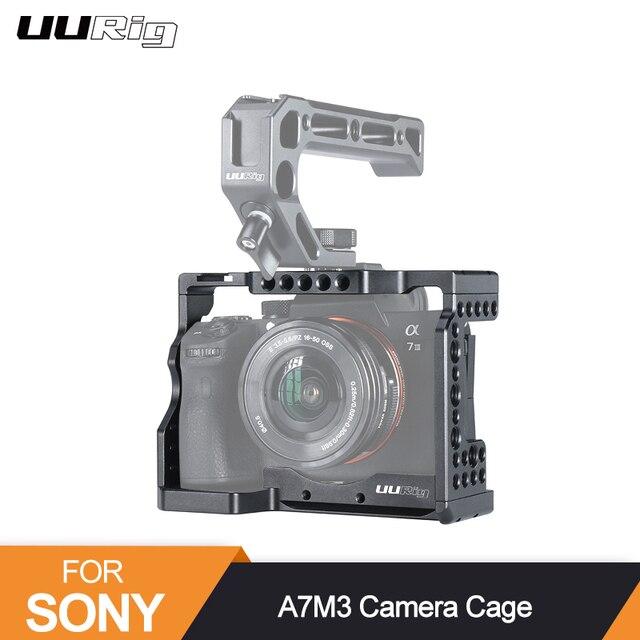 UURig C A7III Camera Cage For Sony A73 A7R3 A7M3 Standard Arca Quick Release Plate W Top Handle Grip Cold Shoe Mount DSRL Camera