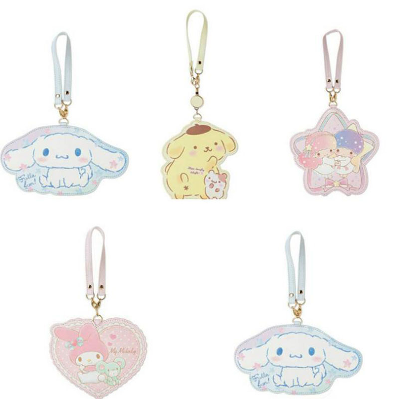 1 Pcs Cute Cinnamoroll Little Twin Stars My Melody Pudding Dog PU Bank Credit Card Holders Bus ID Holders Badge Reel Stationery