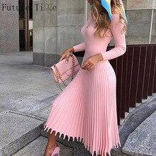 Женское вязаное длинное платье Future Time, элегантные вечерние облегающие платья свитера с рукавами, Осень зима, F792, 2019Платья    АлиЭкспресс