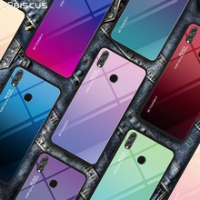 Gradient Hard Tempered Glass Case For Huawei P20 P30 Mate 20 Pro 10 Lite P Smart Plus 2019 Y9 Y5 Y6 Y7 Prime 2018 Colorful Cover(China)