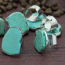Большие размеры бирюзовые кольца нерегулярные Silice Rock необработанный минеральный камень открытые Регулируемые кольца для мужчин и женщин вечерние свадебные ювелирные изделия
