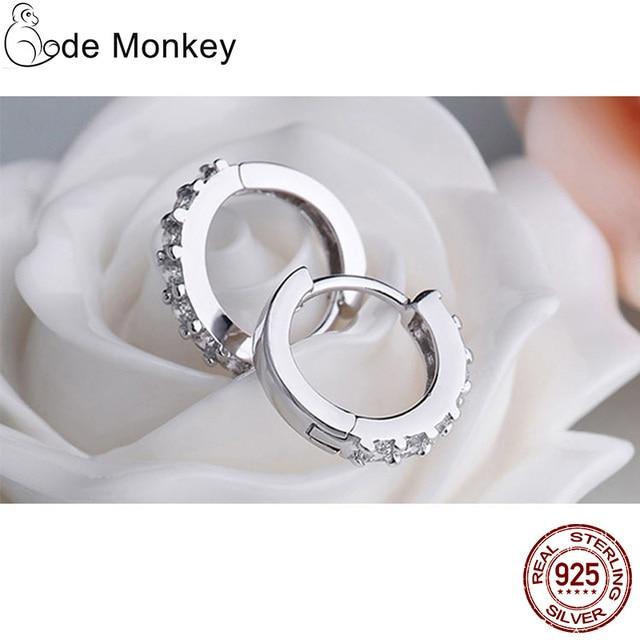 925 Sterling Silver Crystal Circle Earrings 3
