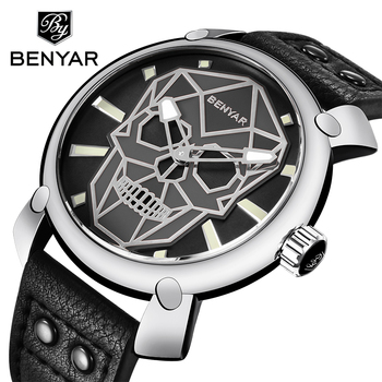 BENYAR Mens Watches Top Brand Luxury Fashion Leather Quartz Wristwatch Gold Skull Watch Clock Men Montre Homme Relogio Masculino benyar men watch top brand luxury quartz watch mens sport fashion blue analog leather male wristwatch waterproof clock