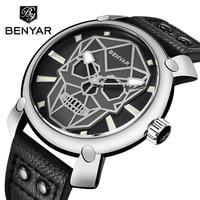 BENYAR Mens Watches Top Brand Luxury Fashion Leather Quartz Wristwatch Gold Skull Watch Clock Men Montre Homme Relogio Masculino
