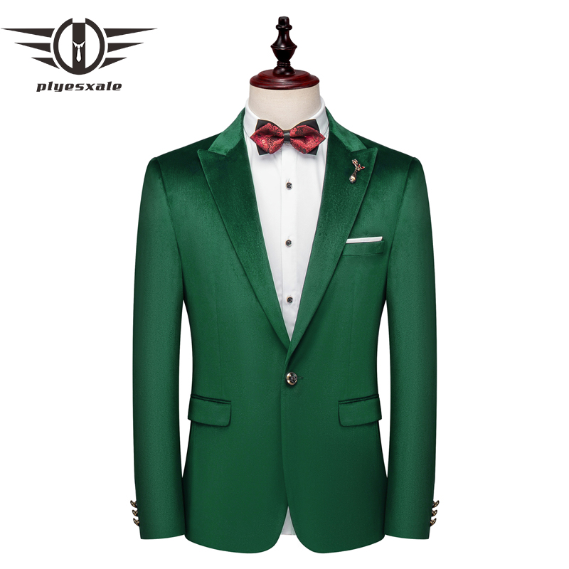 Plyesxale Green Blazer Men 2019 New Slim Fit Mens Velvet Blazers 5XL Man Blazer Casual Suit Jacket Party Wedding Blazer Q675