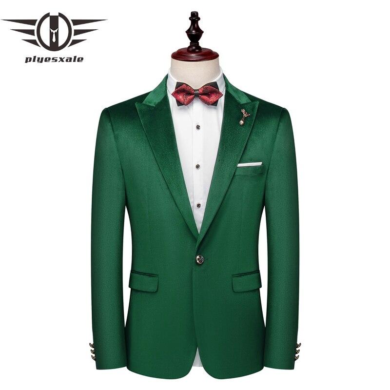 Plyesxale vert Blazer hommes 2019 nouveau Slim Fit hommes velours Blazers 5XL homme Blazer costume décontracté veste fête mariage Blazer Q675