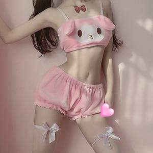 Image 3 - Kawaii Sexy Vrouwen Lingerie Set Lolita Intimates Set Kat Anime Cosplay Kaneel Hond Kostuums Lange Oor Doggy Tube Top Slipje set