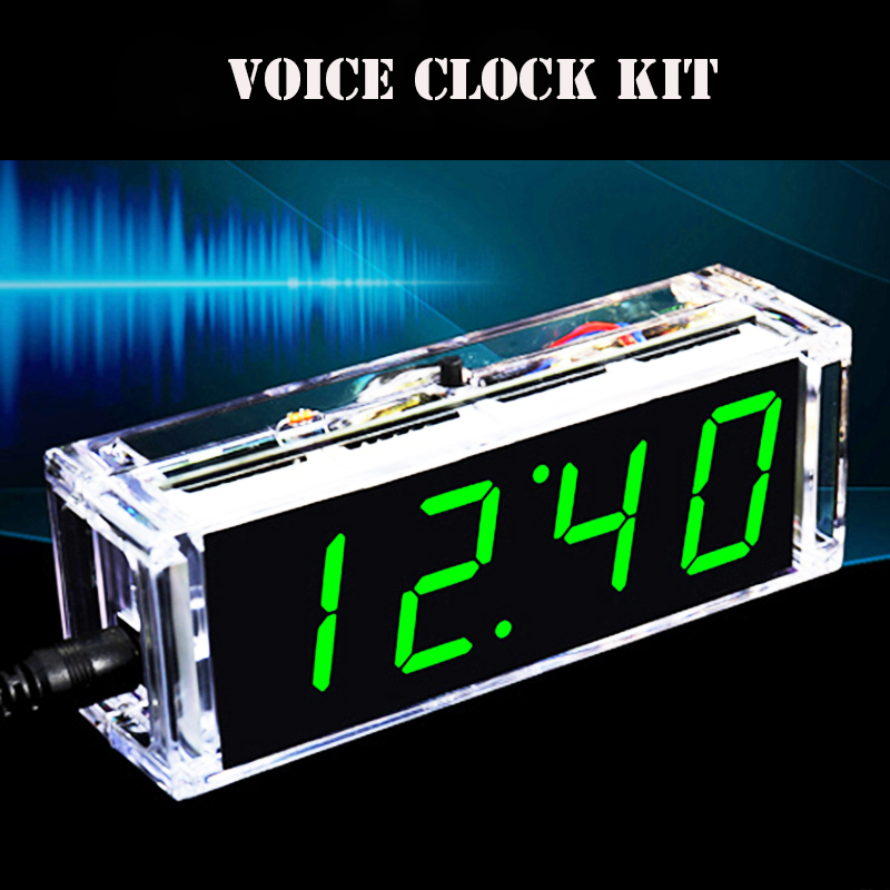 Clock-Kit Tube-Time Diy Soldering Date-Display Digital Temperatiure Subject Voice-Time-Night-Light