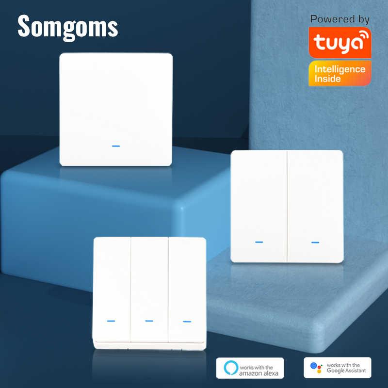 Smart Switch WiFi Taster Wand Licht Schalter EU AC 90v 250v Keine Neutralen Tuya Drahtlose Steuerung Alexa google Home Kompatibel