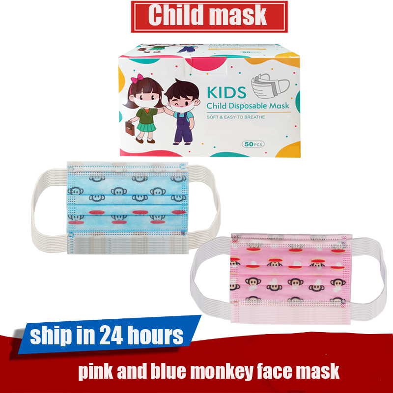 Pink and Blue Paul Frank Child Disposable Face Mask,3-layer Non-woven Fabric Melt Blown mouth covers,kid Daily Protection Mask