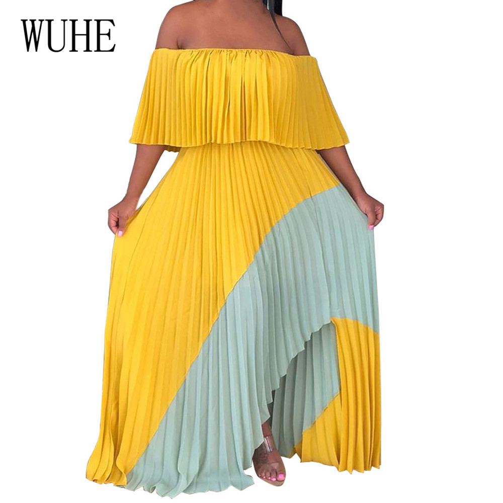 WUHE Elegant Summer Chiffon Dress Women Strapless Short Sleeve Boho Pleated Maxi Dress Sexy Off Shoulder Backless Beach Vestidos in Dresses from Women 39 s Clothing