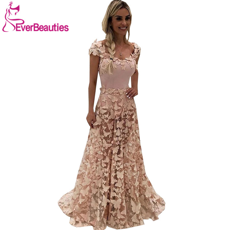 Vestido De Festa   Evening     Dresses   Long 2020 Robe De Soiree   Evening   Gown Blush Pink 3D Butterfly Appliques Abiye