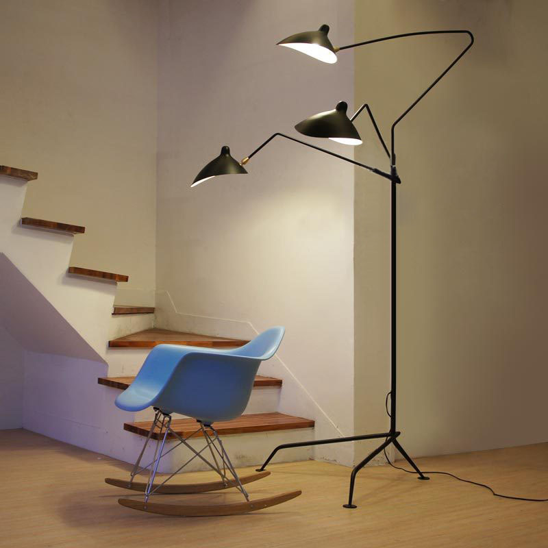 Nordic Dawn Spider Serge Mouille โคมไฟการสร้างแบบจำลองห้องนอนอุตสาหกรรมยืนโคมไฟห้องนั่งเล่นที่เรียบง่าย LED โคม...