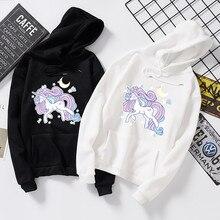 Harajuku cute Horse cartoon print mens sweatshirt  Anime Japan style couples hoodie men hip hop clothes black streetwear 2020
