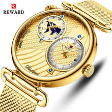 цена на REWARD Multiple Time Zone Dial Men Quartz Watches Top Brand Luxury Golden Watch Men's Waterproof Wristwatch Relogio Masculino