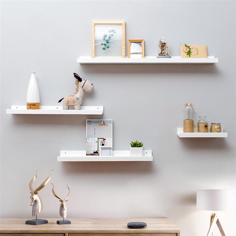 Bamboo Wall Shelf Floating Ledge Storage Wall Shelves Rack Wall Art For Home Decor (White)