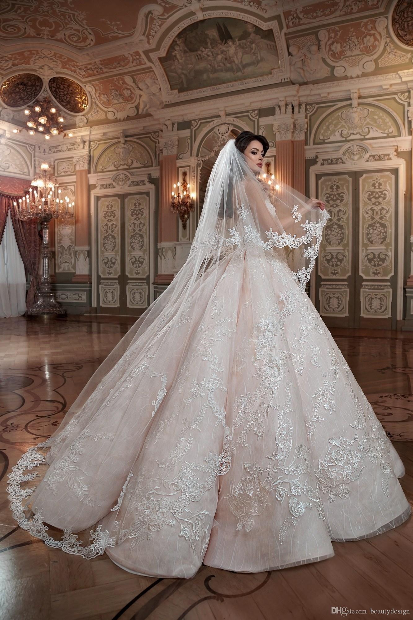 2020 Blush Roze Queen Trouwjurken Sweetheart Hard Satin Floor Lengte Lace Baljurk Custom Made Bruidsjurken - 3