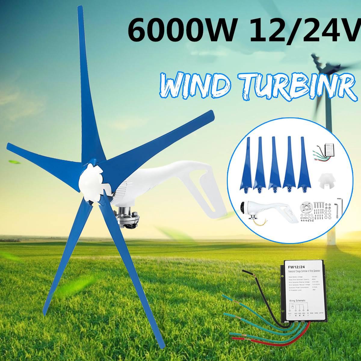 6000W AC stałe turbina wiatrowa 5-Nylon ostrza 12/24V gospodarstwa domowego Generator prądu w/kontroler do słonecznej Streetlight