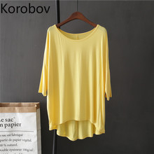 Summer Tee Tops Short-Sleeve Female t-Shirt Korobov Korean Casual Plus-Size New-Arrival