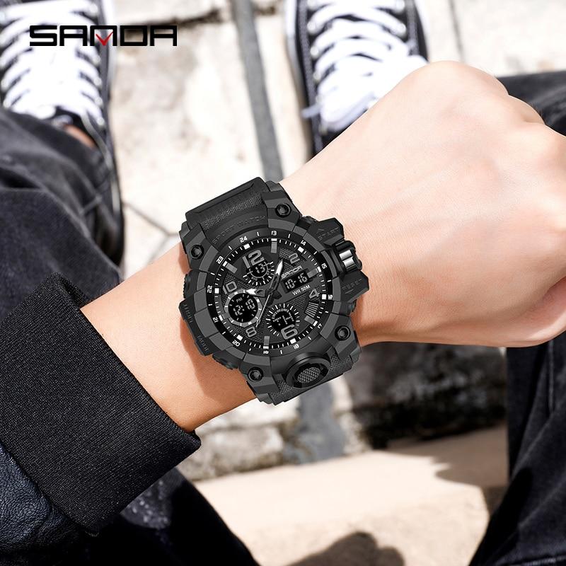 Montre homme SANDA marque montre-bracelet de luxe double temps chronomètre Sport militaire montres mode hommes montres horloge antichoc 2