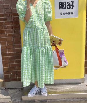 W koreańskim stylu szykowny słodki świeży V Neck bufiasty krótki rękaw zielony w kratę sukienka kobiety długa luźna lalka dziewczyny Vestido De Mujer odzież tanie i dobre opinie asapgot A-LINE CN (pochodzenie) Wiosna V-neck Rękaw z bufkami NONE Na co dzień Do połowy łydki POLIESTER Akrylowe spandex