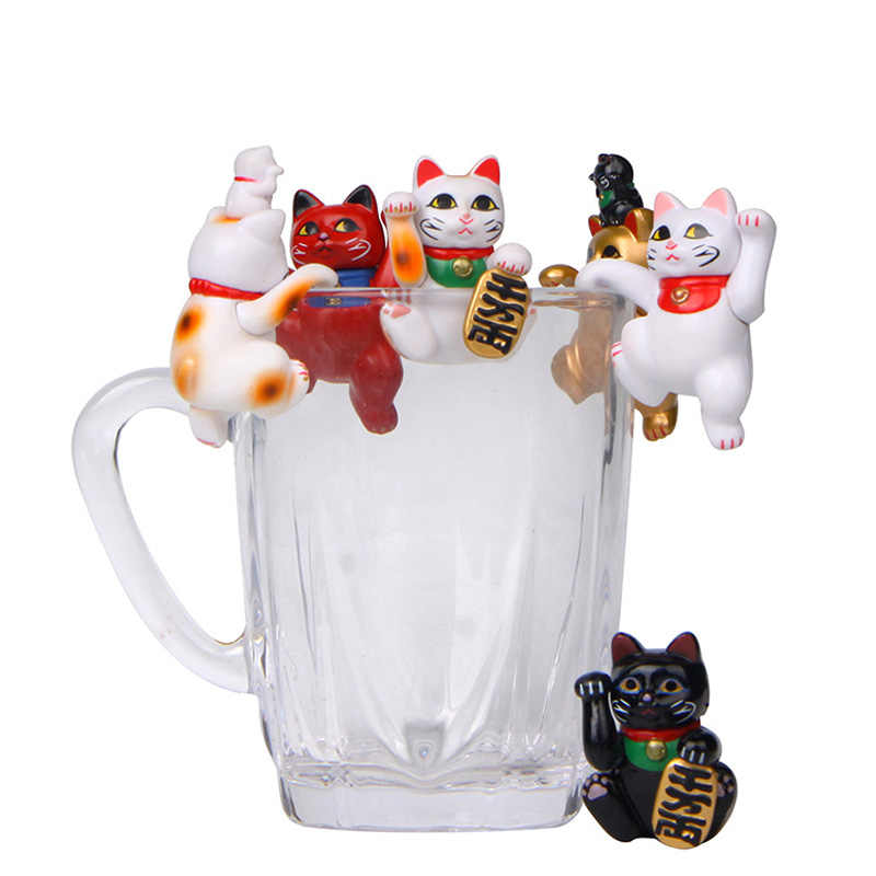 1 Pc Cartoon Leuke Lucky Katten Modellen De Rand Van Cup Mini Action Figures Poppen Pvc Diy Decoratie Miniaturen Craft ornamenten Geschenken