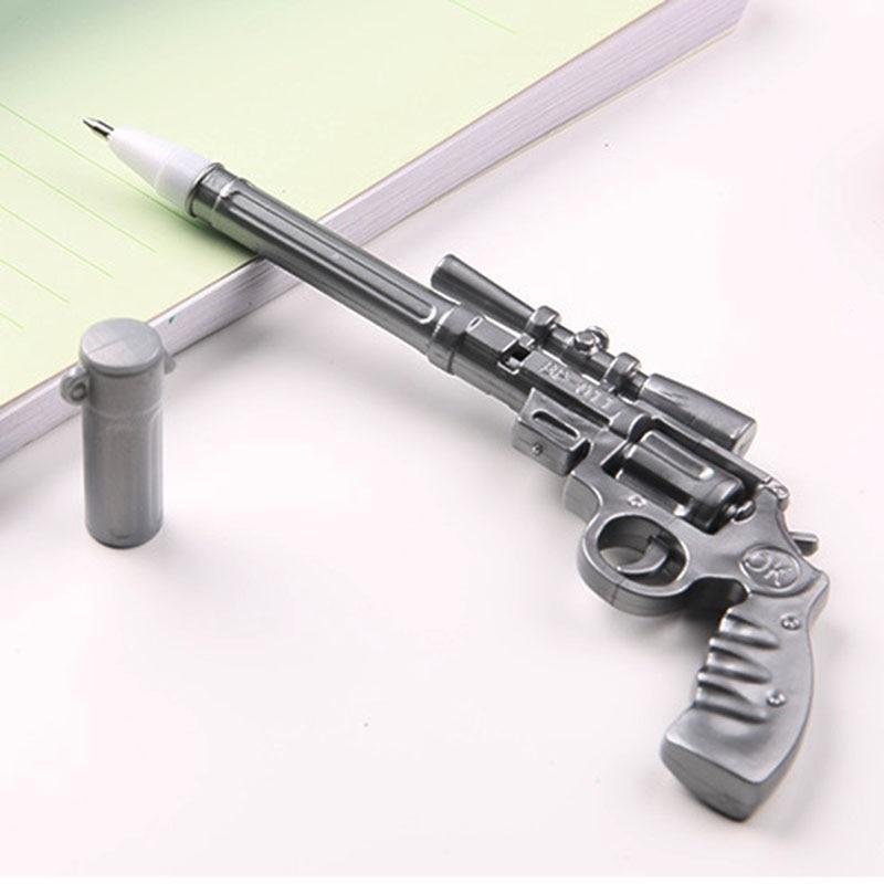 2pcs Creative Gun Shaped Plastic Ballpoint Pen Student Stationery Gift Blue Ink