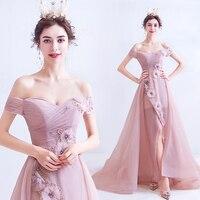 Off The Shoulder Naked Pink Prom Dresses High Slit 3D Flowers Women Formal Party Dresses 2020 New Vestido De Formatura