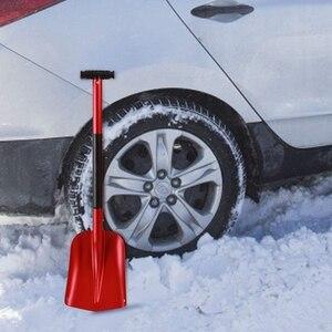 Aluminiowa lekka łopata do śniegu do awaryjnego samochodu, 21 Cal-32 Cal trwała kompaktowa składana łopata snowboardowa, czerwona