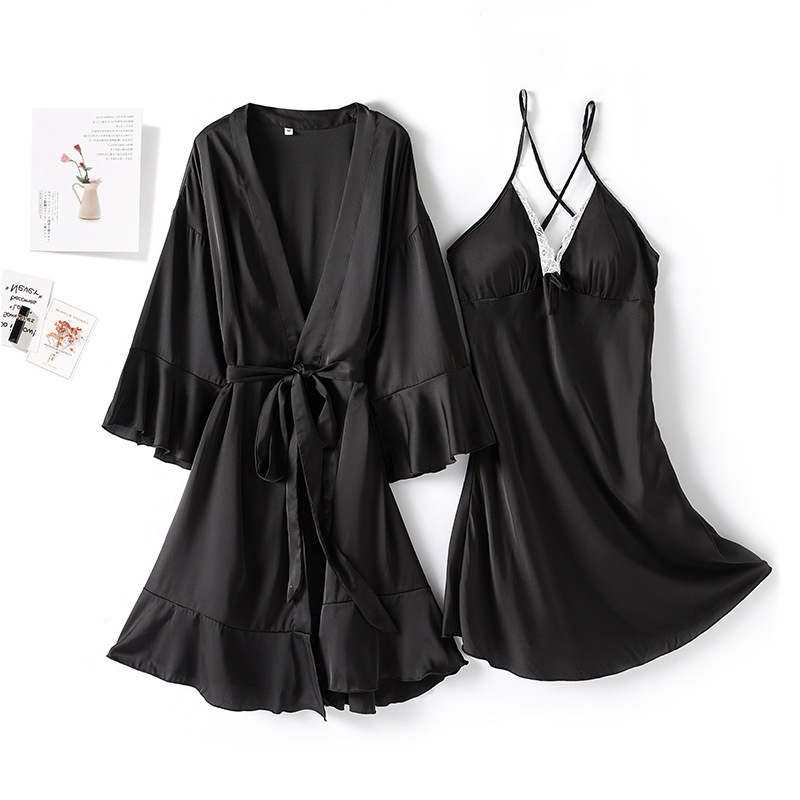 Image 2 - MECHCITIZ Sexy Womens Robe & Gown Sets Lace Bathrobe Night Dress 2 Pieces Sleepwear Womens Sleep Set Silk Robe Femme LingerieRobe & Gown Sets   -