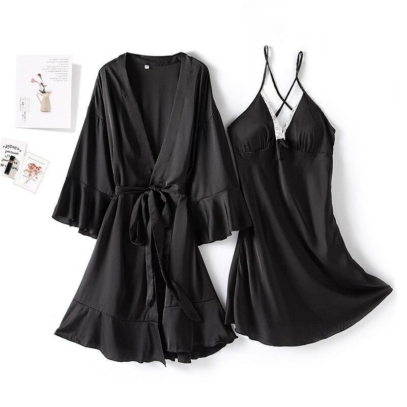 Image 2 - MECHCITIZ, сексуальный женский халат и платье, комплекты, кружевной халат, ночное платье, 2 штуки, пижамы, Женский комплект для сна, шелковый халат, женское бельеКомплекты халатов и сорочек    АлиЭкспресс