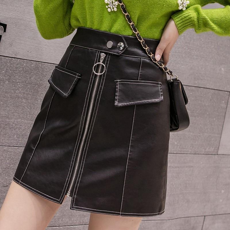 Sexy Bodycon Skirt Women's PU Leather High Waist Solid Color Miniskirt Zipper Design Tight Skirts