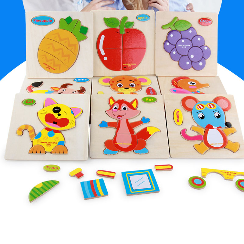 3D Puzzle Wooden Toy Animal Baby Kids Early Educational Fruit Traffic Transport Cognition Reflection Toy