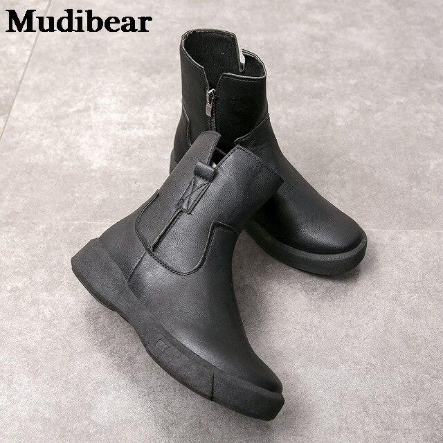 Купить женские кожаные ботинки mudibear черные на плоской платформе картинки цена
