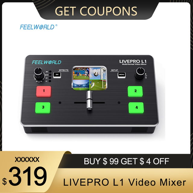 FEELWORLD LIVEPRO L1 Video Mixer Switcher 4 Channel Input USB3.0 Audio Embed De Embed for DSLR Video Live Streaming