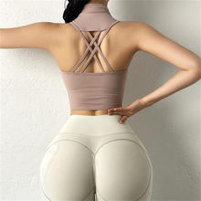 Sujetador deportivo con cinta para mujer, top Sexy con agujeros en la espalda, a prueba de golpes, para correr, Yoga, sin mangas con almohadilla en el pecho