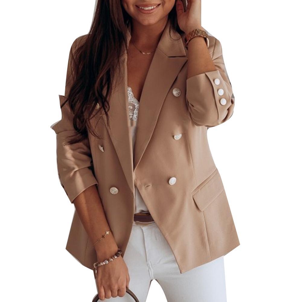 Повседневные женские блейзеры пиджак костюм пальто двубортный блейзер Повседневная стройнящая Спецодежда с карманами кардиган пальто раз...