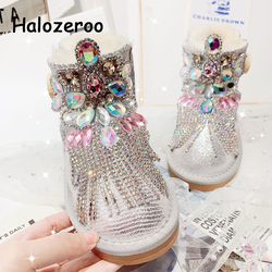 Winter Kids Snow Boots Baby Girls Rhinestone Ankle Boots Toddler Warm Genuine Leather Shoes Women Brand Boots Fashion Soft Boots