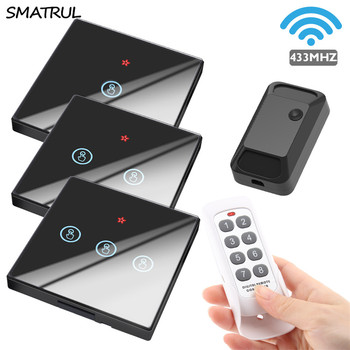 цена на SMATRUL smart home Wireless touch Switch Light Electrical 433MHZ RF Remote Control Glass Screen Wall Panel Receiver led Lamp