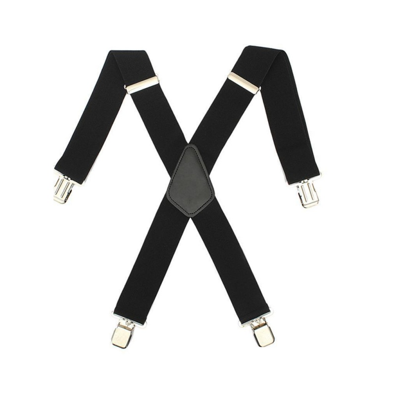 Mens Women Black Elastic Suspenders Leather Braces X-Back Adjustable Clip-on New