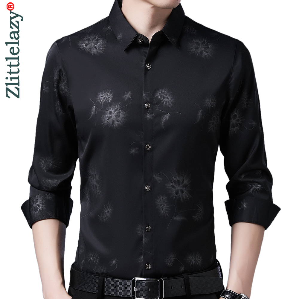 2020 Brand Long Sleeve Men Social Shirt Streetwear Casual Dandelion Shirts Dress Mens Slim Regular Fit Clothes Fashions 80503 1