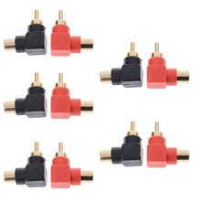 10Pc Rca Right Angle Connector Plug Adapters M/F Male To Female 90 Degree Elbow