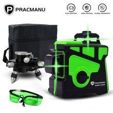 PRACMANU vert 12 lignes niveau 3D niveau Laser auto-nivelant Vertical croix Super puissant vert 360 niveau Laser Horizontal